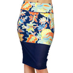 NS Activewear Floral Stretch Straight Pencil Knee-Length Casual Sport Skirt with Mesh