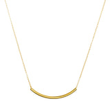 "14k Yellow Gold Filled Curved Tube Bar 2""x40""mm Necklace"