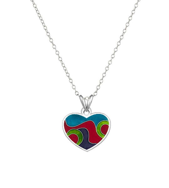 Heart Sterling Silver  Cloisonné Hot Enamel Pendant Necklace Made in USA