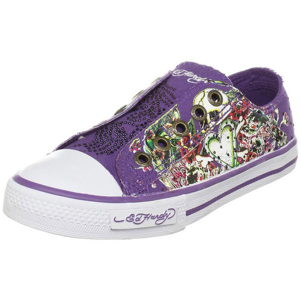 Ed Hardy Kids Authentic LR Stone Fashion Slip on Sneaker Shoes with Purple Stones