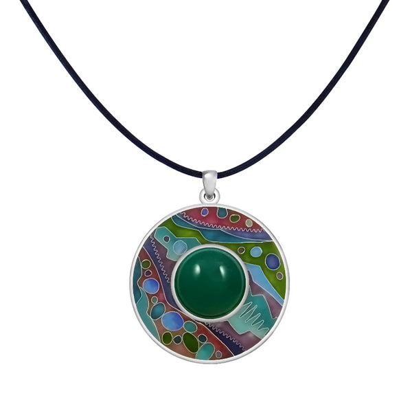 Sterling Silver Enamel & Chrysoprase Pendant Leather Cord Chain Necklace