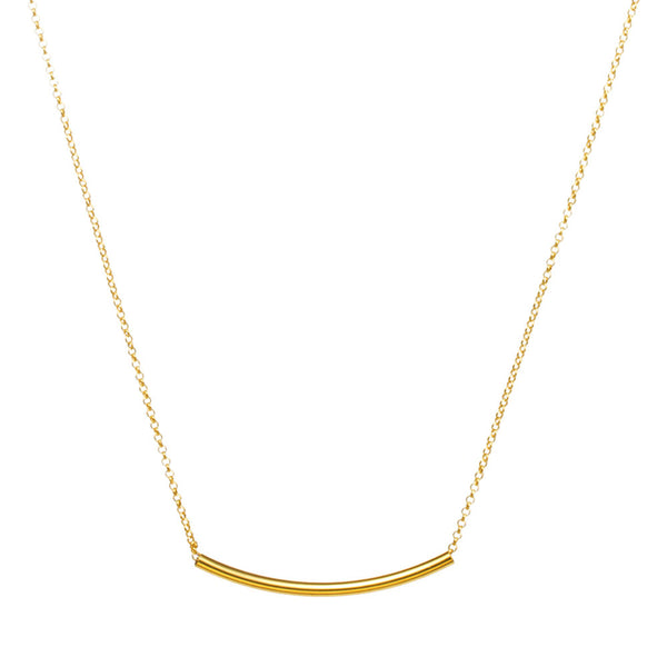 "14k Yellow Gold Filled Curved Tube Bar 2""x35""mm Necklace"