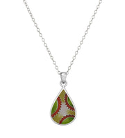 Drop Shape Sterling Silver Cloisonné Hot Enamel Pendant Necklace Made in USA