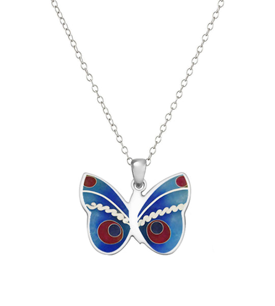 Butterfly Sterling Silver  Cloisonné Hot Enamel Pendant Necklace Made in USA