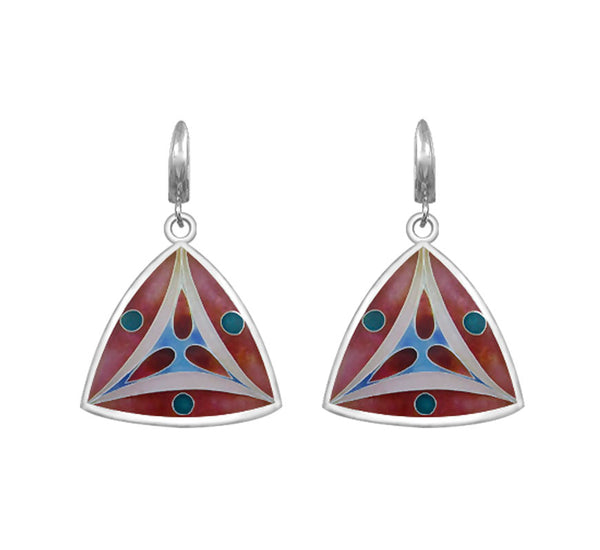 Sterling Silver Cloisonné Hot Enamel Drop/Dangle Leverback Earrings