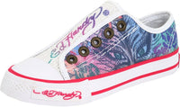 Ed Hardy Kids Authentic LR Orlean Sparkling Sequins White Fashion Sneaker Shoes