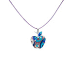 Apple Sterling Silver Cloisonné Hot Enamel Pendant & Leather Cord Chain Necklace