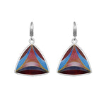 Sterling Silver Cloisonné Hot Enamel Drop/Dangle Leverback Multi-Color Earrings