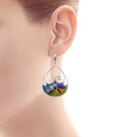 Drop Sterling Silver Enamel Drop/Dangle Earrings made with Swarovski Crystals