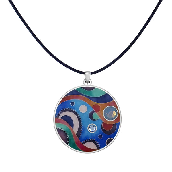 Sterling Silver Enamel Leather Cord Necklace made with Swarovski Crystals