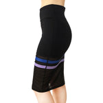 NS Activewear Two Striped Stretch Straight Knee-Length Casual Sport Skirt with Mesh