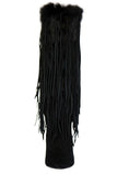 Capelta Couture Women's Sahara Breeze Fringe Suede/Fur Black Boots