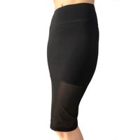 NS Activewear Stretch Straight Knee-Length Casual Black Sport Skirt with Mesh