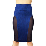 NS Activewear Denim Print Stretch Straight Knee-Length Casual Sport Skirt with Mesh