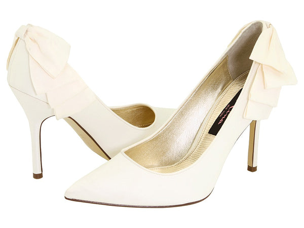 Nina Quenna Women's Wedding Ribbon Ruffle Detailing Ivory Shoes