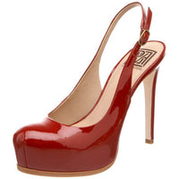 Pour La Victoire Aria Sling-back Strap High Heel Patent Leather Red Shoes
