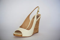 Pour La Victoire Catina Cream Patent Leather Sling-back Strap Wedge Sandal Shoes