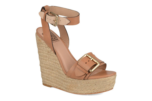 Pour La Victoire Women Jaclyn Espadrille Wedge Luggage Tan Leather Sandal Shoes