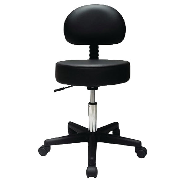 "Pneumatic mobile stool, with back, 18"" - 22"" H, black upholstery"