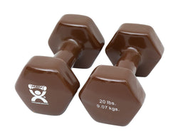 CanDo Vinyl coated dumbbell - 20 lb - Brown