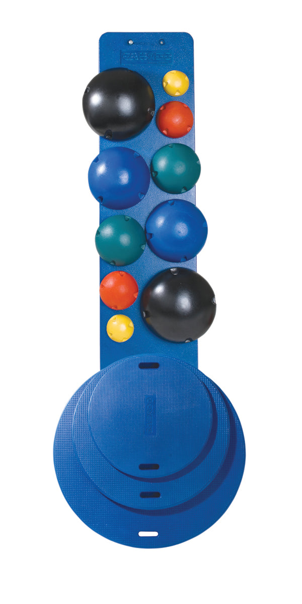 "CanDo® MVP® Balance System - 10-Ball Set with Rack (2 each: yellow, red, green, blue, black), and 16,20,30"" Diameter Boards"
