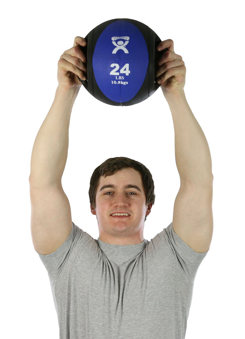 "CanDo Dual-Handle Medicine Ball - 9"" Diameter - Blue - 24 lb"