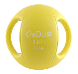 CanDo Molded Dual Handle Medicine Ball - 8.8 lb (4 kg) - Yellow