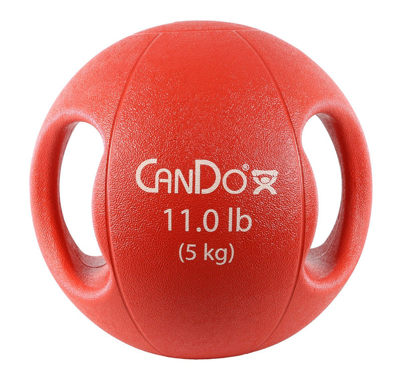 CanDo Molded Dual Handle Medicine Ball - 11 lb (5 kg) - Red