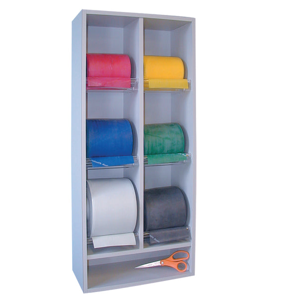 Vertical BandRack Storage with 6 rolls for exercise band with or without core