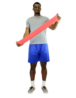 CanDo Low Powder Exercise Band - 4' lengths, 5-piece set (1 each: yellow, red, green, blue, black):