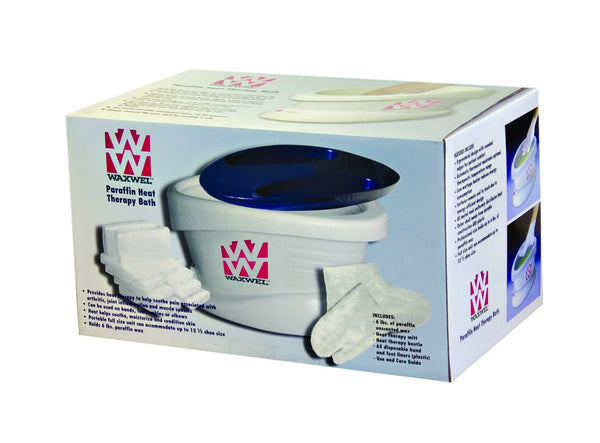 WaxWel Paraffin Bath - Standard Unit Includes: 100 Liners, 1 Mitt, 1 Bootie, 6 lb Unscented Paraffin