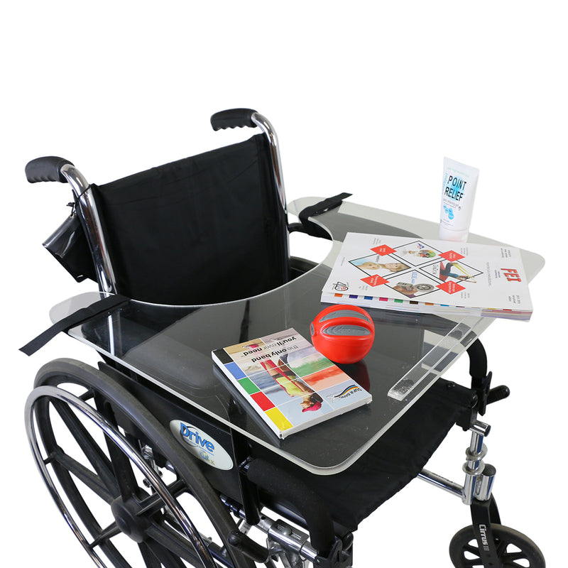Wheelchair tray clear acrylic with rim and straps