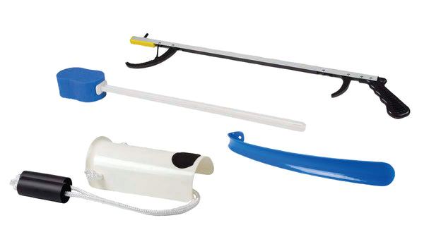 "FabLife™ Hip Kit: 26"" reacher, contoured sponge, formed sock aid, 18"" plastic shoehorn"