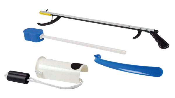 "FabLife™ Hip Kit: 32"" reacher, contoured sponge, formed sock aid, 18"" plastic shoehorn"