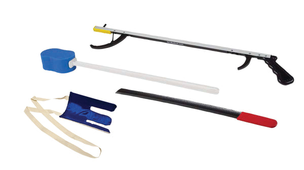 "FabLife™ Hip Kit: 32"" reacher, contoured sponge, flexible sock aid, 24"" metal shoehorn"