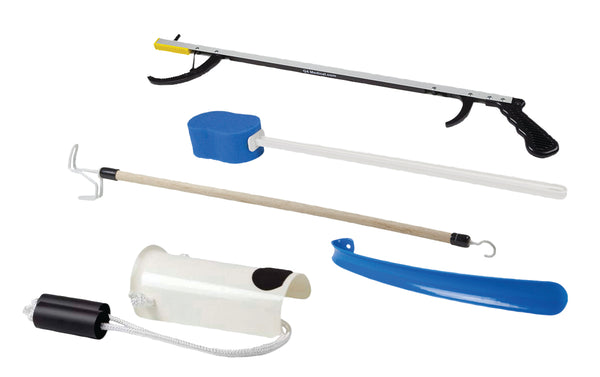 "FabLife™ Hip Kit: 26"" Reacher, contoured sponge, formed sock aid, 18"" plastic shoehorn, 24"" dressing stick"