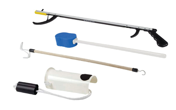 "FabLife™ Hip Kit: 32"" reacher, contoured sponge, formed sock aid, 24"" dressing stick"