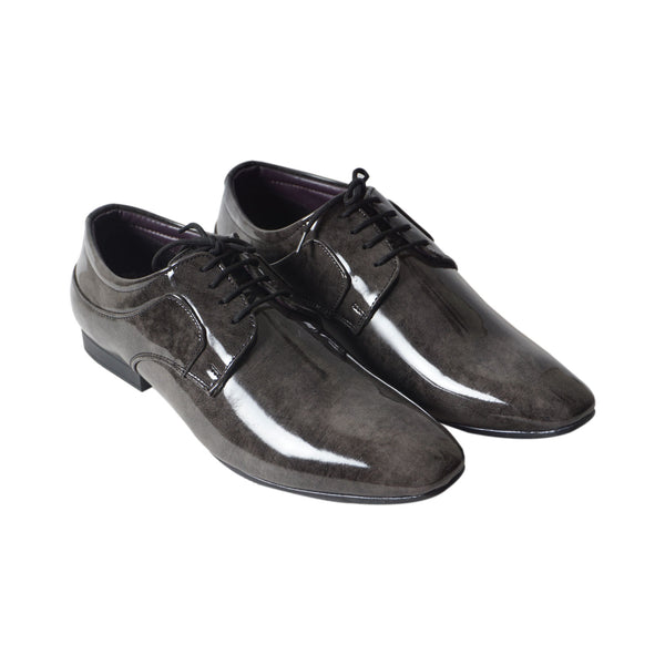 Grey Patent Lace Up Formal Shoes for Men's