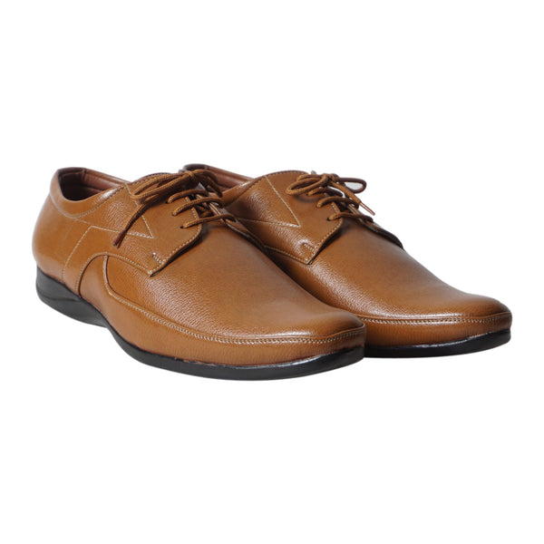 Tan Lace Up Formal Shoes For Men's
