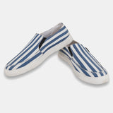 White and Blue Casual Slip On Shoes