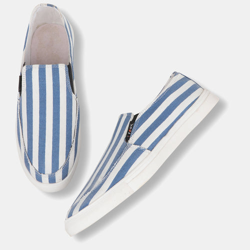 Foax White and Blue Casual Slip On Shoes