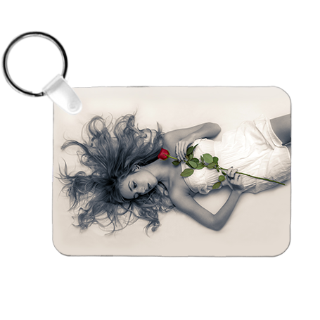 "Rectangle Landscape 2-Sided Key Ring Tag - 2.25"" x 1.6"" x .030"" Aluminum - Instafreshener"
