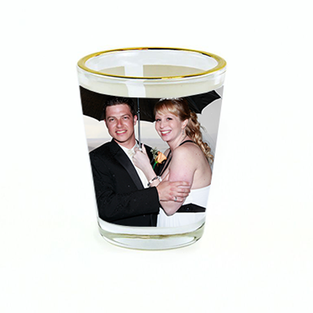 1.5oz Glass Shot Glass w Gold Rim - Instafreshener