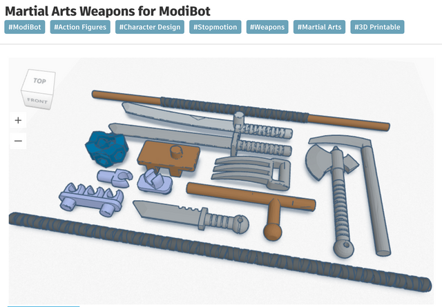 New 3d printable, ModiBot 'Character Creator' parts released at Tinker
