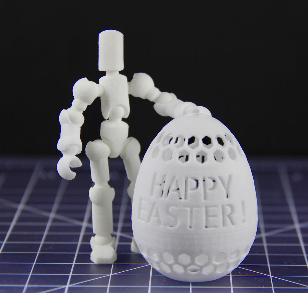 Dye-able Easter egg ornament with Myke 'blanco' microfigure
