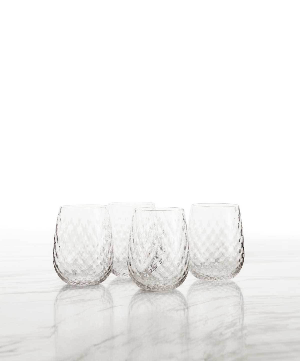 Hand-Blown Stemless Diamond Wine Glasses