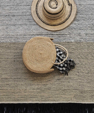 Tres Stripes Outdoor Rug in Black