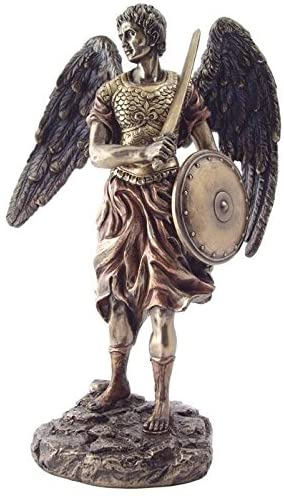 12.5 Inch Archangel Seatiel Statue with Sword and Shield, Bronze