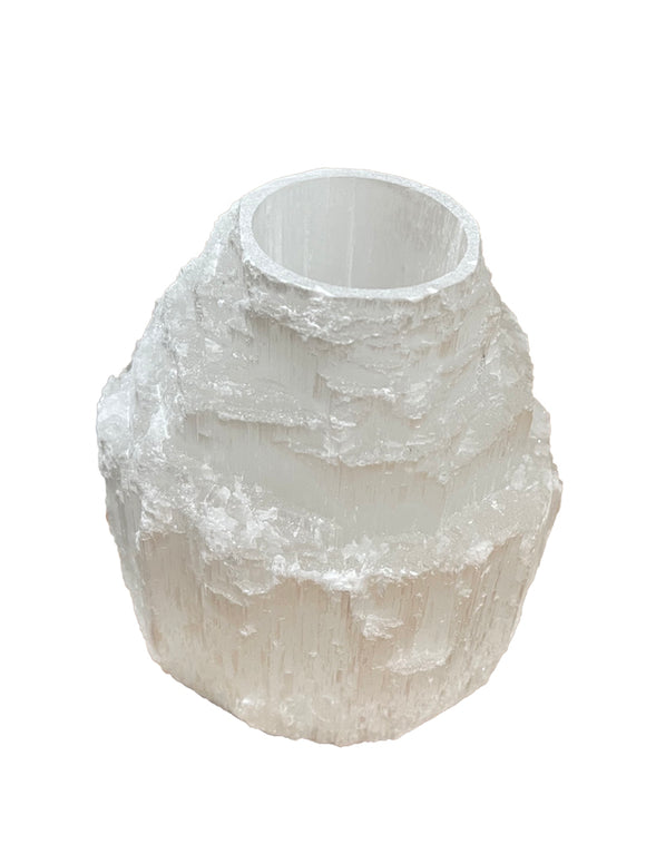 Selenite Candle Holder Tower