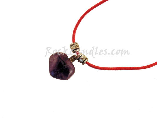 Amethyst Charm Necklace With Leather Cord